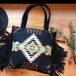 Handbags - Black Fringe Wool Tote Bag in Pendleton Wool